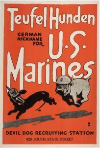 "United States Marine Corps (USMC) World War I recruiting poster. A Marine bulldog chases a German dachshund, taking advantage of the German nickname for Marines as ""Devil Dogs""."
