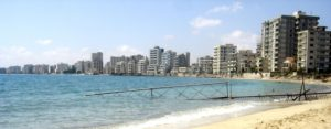 Varosha (Maraş), a suburb of Famagusta, was abandoned when its inhabitants fled in 1974 and remains under military control