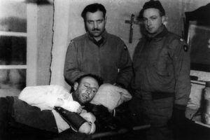 Friedrich von der Heydte, wounded, in US captivity.