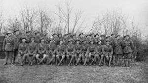 Officer Corps of the 34th Battalion at Meteren. Reuben Parks first on the left, back-row.