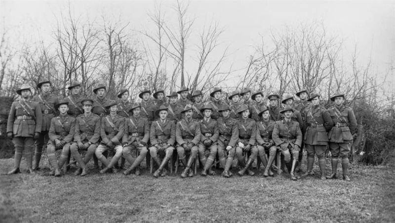 Officer Corps of the 34th Battalion at Meteren. Reuben Parkes first on the left, back-row.