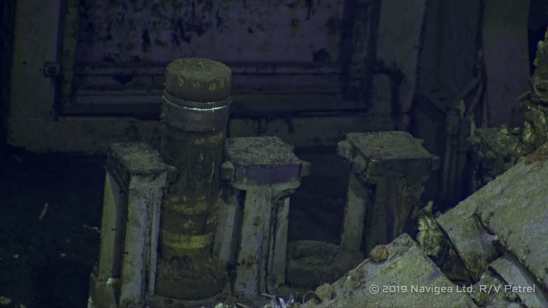 An Anti-Aircraft projectile still in the fuse setter for the starboard forward gun in the previous photo.