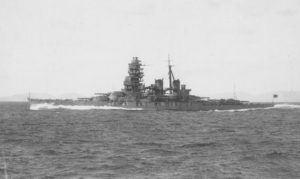 Hiei undergoing full power trials off Tukugewan following her second reconstruction, December 1939