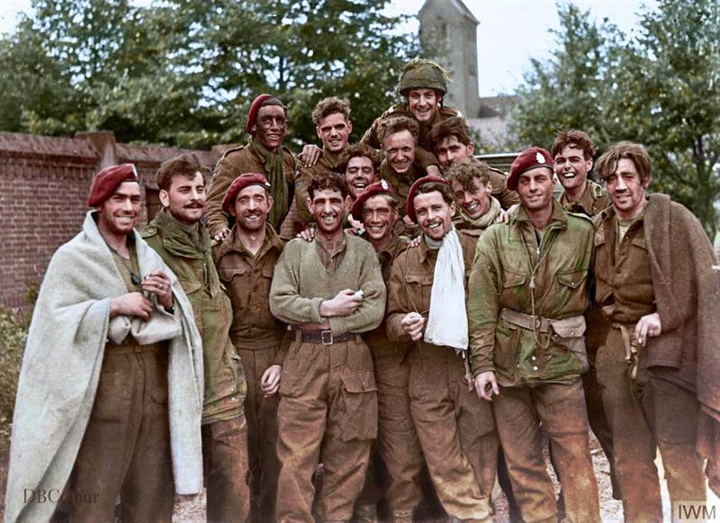 Members of the British 1st Airborne Division (mostly 1st Bn Borders), safe in the grounds of the Missionary College in Nijmegen, on Tuesday 26th September, after being successfully evacuated across the Rhine from Arnhem.