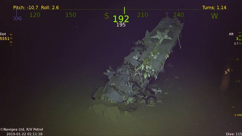 The F4F Wildcat from the debris field and shown in the sonar mosaic.