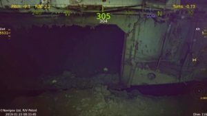 This is the hangar deck on the main part of the ship on the starboard side. You can see Hornet is nearly buried up to the Hangar Deck.