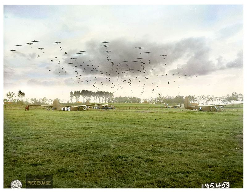 "A serial of Douglas C-47 Skytrains of the 315th Troop Carrier Group, dropping 41 sticks of the 1st Polish Airborne Brigade into DZ ""O"" near Grave, southwest of Nijmegen in Holland, on September 23, 1944, D+6 of Operation Market Garden."