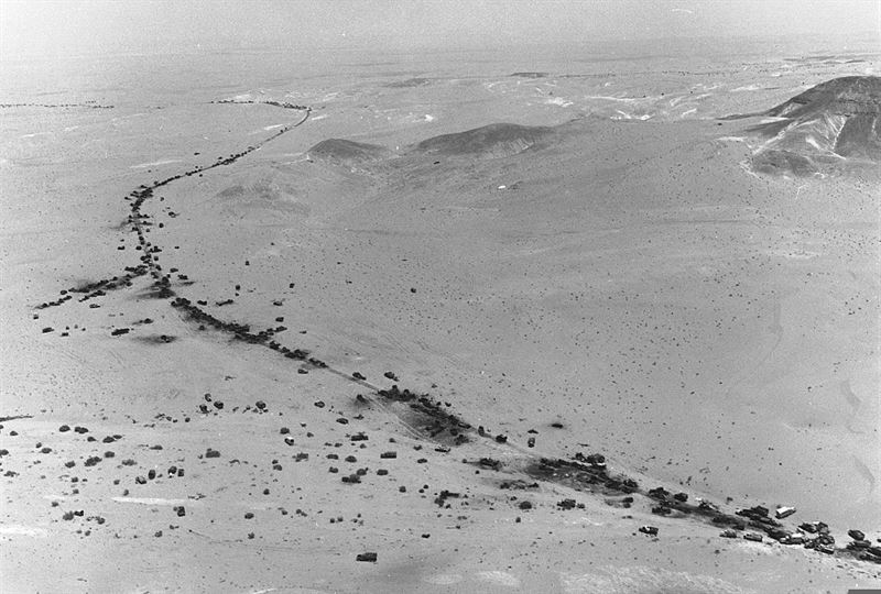 Aerial view of the road through Mitla Pass dotted with wrecked Egyptian vehicles and armour after Israel air force attacks.