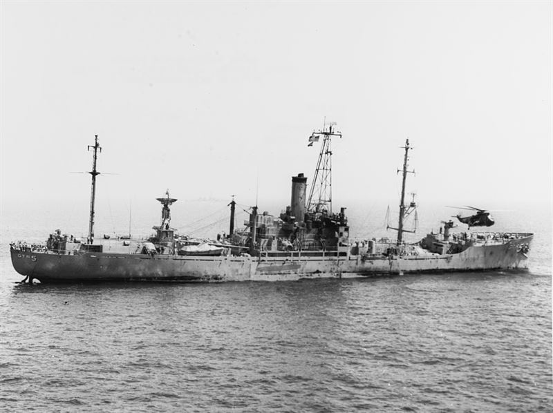 Damaged USS Liberty one day (9 June 1967) after the attack.