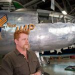 Michael Cudlitz in front of B-25 Miss Hap, getting ready for filming, at the American Airpower Museum. (Credits; Return to Hardwick)