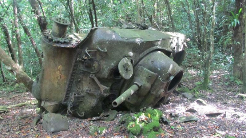 Sherman that was knocked out by a mine