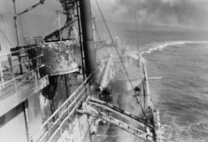 USS Liberty turns while under attack by Israeli Torpedo Boats