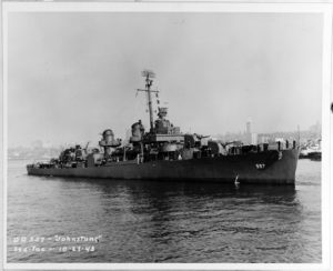 Johnston (DD-557) off S Seattle or Tacoma, Washington, 27 October 1943. (Courtesy of Mrs. Roger Dudley. U.S. Naval History and Heritage Command Photograph. NH 63495)
