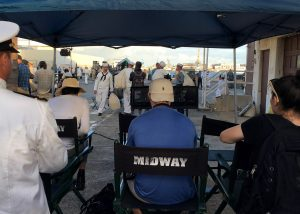 "More than 200 ""extras"" in period dress on location on Fords Island during the filming of ""Midway"" in September 2018. (U.S. Navy/Dave Werner)"