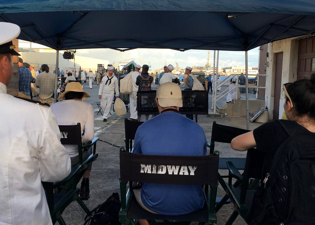 """More than 200 """"extras"""" in period dress on location on Fords Island during the filming of """"Midway"""" in September 2018. (U.S. Navy/Dave Werner)"""