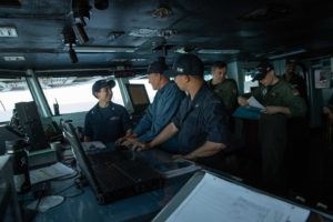 Woody Harrelson speaks with Sailors aboard USS John C. Stennis (CVN 74) during a visit to the aircraft carrier at sea in August 2018. (U.S. Navy/MC3 Joseph Miller)