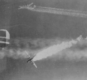 A B-24 Liberator from the 465th Bomb Group, 15th Air Force going down after a direct hit by Flak over Munich, Germany on November 16, 1944. - 1