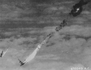 A B-24 Liberator from the 465th Bomb Group, 15th Air Force going down after a direct hit by Flak over Munich, Germany on November 16, 1944. - 2
