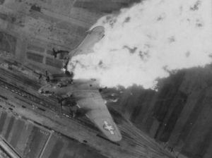B-17 Whizzer II 42-5786 from the 483rd Bomb Group after being hit by Flak over the rail yards of Nis, Yugoslavia in 15 April 1944.