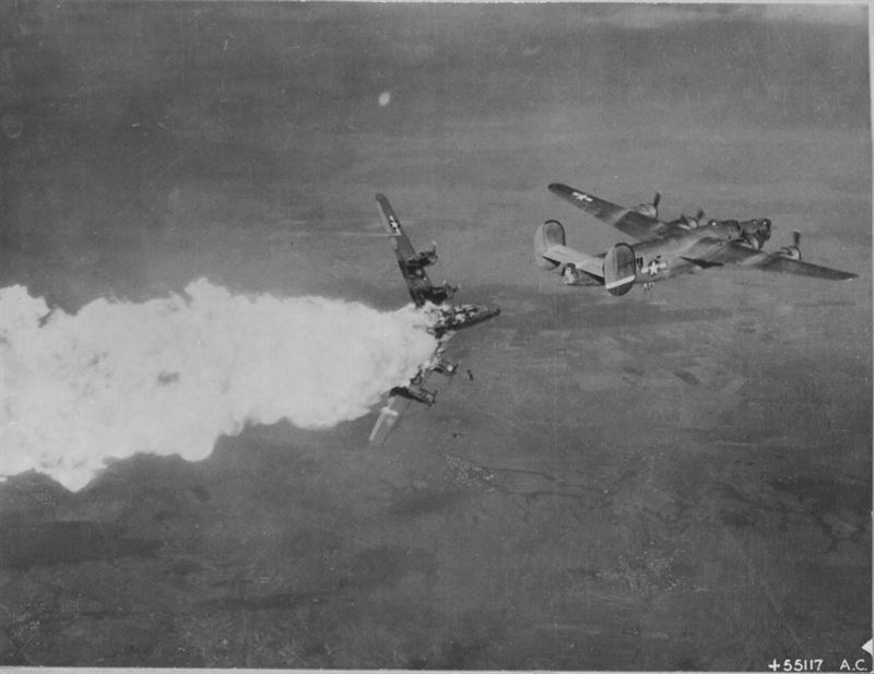 B-24H Liberator bomber of 783rd Bomb Squadron, 465th Bomb Group, US 15th Air Force exploding in mid air after being hit by anti-aircraft fire over Germany, 1944