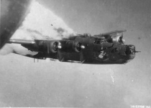 Fuel tanks of the B-24H Liberator Little Warrior with the 861st Bomb Squadron explode over Fallersleben, Germany, after being hit by anti-aircraft fire, June 29 1944.