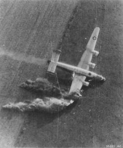 Hit by light-flak on the September 18,1944 low-level supply drop mission for the 82nd and 101st Airborne Divisions in the area of Eindhoven, Holland.