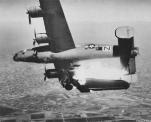 """The U.S. Army Air Force Consolidated B-24L-10-FO Liberator, s/n 44-49710, named """"STEVENOVICH II"""", of the 779th Bombardment Squadron, 464th Bombardment Group, shot down by Flak during an attack on ground troops near Lugo, Emilia Romagna, Italy, on 10 April 1945."""