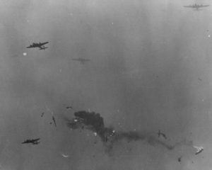 Two 305th Bomb Group B-17 Flying Fortresses collided in mid-air