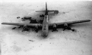 "Photo of the B-29 ""Kee Bird""; crashed in Greenland in February 1947."
