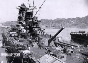 The Yamato battleship in port